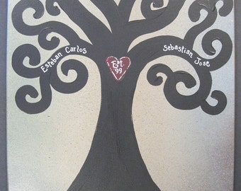 """Jez4U Family Tree Special Order  Handpainted on Gallery Wrapped Canvas """"Family Giving Tree"""""""