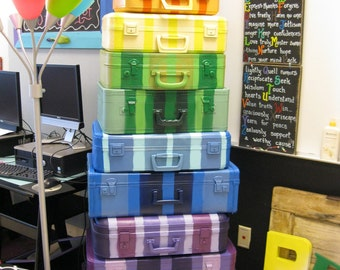 Jez4U Vintage Stack of TEN Awesome Suitcases Handpainted and Original READY to SHIP today Get the whole set or pick one out of the group
