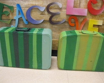 Jez4U Ready to Ship Vintage Custom painted Green suitcase with awesome interior and a key in the one...choose your favorite or get both
