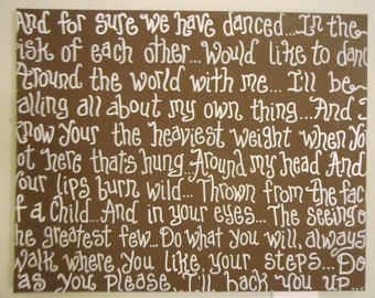 "Wedding Song Lyrics  16"" X 20 "" on Canvas Special ORDER in your colors and lyrics"