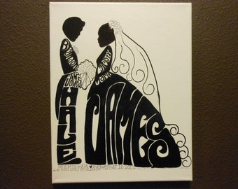 "Wedding GIFT Silhouette 11"" X 14"" on Canvas Vertical on Artist Canvas"