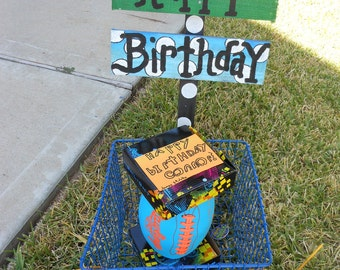 Jez4U Custom Order Happy Birthday Sign which includes 2 signs on a wood stake in a vintage locker basket