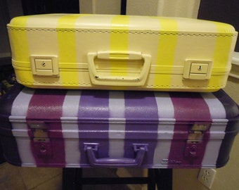 Jez4U Ready to Ship Vintage Custom painted Purple and Yellow suitcase with awesome interiors choose your favorite or get both for this price