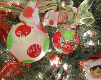 Hand painted Ornaments set of 6 personalized with Polka dots Your colors