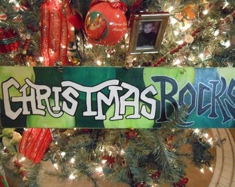 "JEZ4U Christmas ROCKS Wood sign 6 "" X  23 "" ready to ship to you Look at those cute Jingle bells on wire hanger"