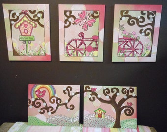 Girl's Room DECOR When you can not paint a mural ORDER 5 canvases like these---WOW!