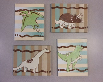 Jez4U Garden Painted Gallery Wrapped Canvases Set of Four to match baby nursery Special Order
