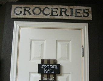 "Jez4U HandPainted Distressed Wood GROCERIES Sign Pictured here Ready TO SHIP 32"" X 5.5"""