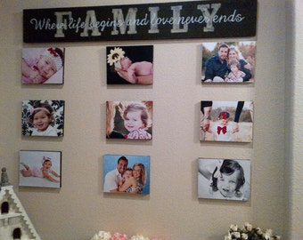 FAMILY Sign Where life begins and love never ends on WOOD Size 50 inches by 8 inches