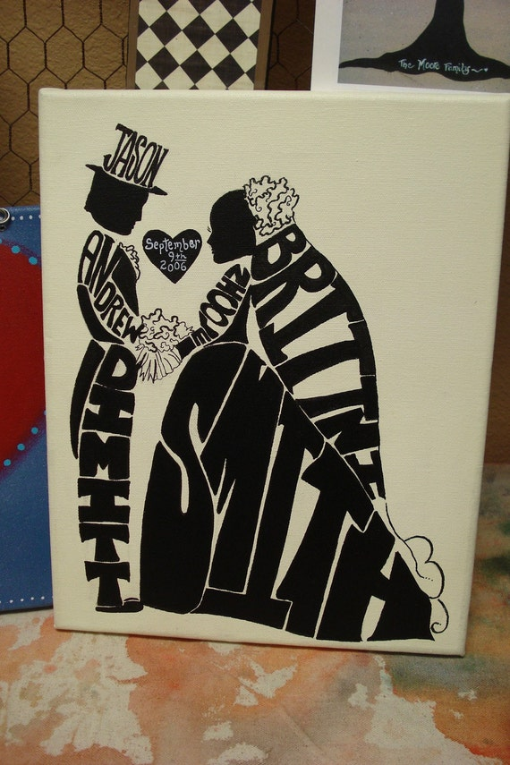 """Jez4U BEST Wedding GIFT Silhouette 8"""" X 10"""" Canvas Personalized with First, Middle, Last name, Maiden and Married Name"""