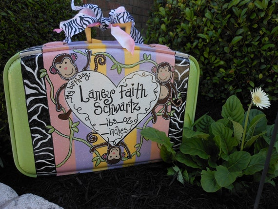 Baby Girl Hand painted Suitcase special order for new baby's treasures ZEBRA Monkey Theme