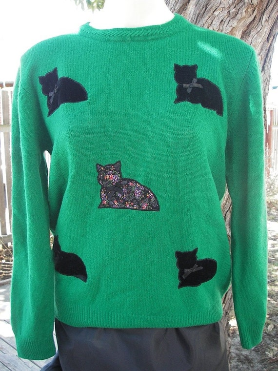 Kitty Cat: Vintage 1980's Green Jumper