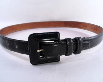 Dark Green  Patent  Leather Belt Annabella size M Vintage 80s