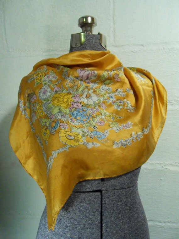 Vintage 50s Golden Silk and Floral Scarf