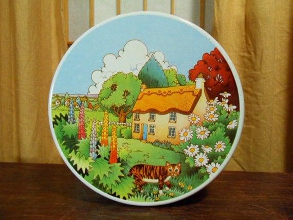 Vintage 70s English Cottage Tin