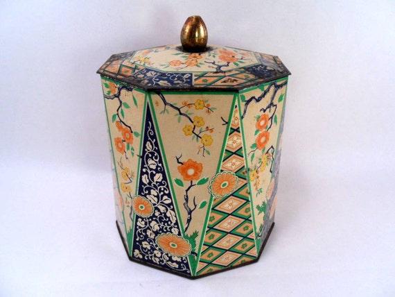 Vintage 20s Oriental Motif Tin Made in Holland