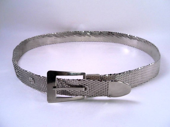 Sale 25% Off Use Coupon Code SAVE25 // Belt Silver Metal Scale Vintage 70s