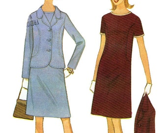 McCall's 8460 by Digby Morton Vintage 60s Misses' Dress and Jacket Sewing Pattern - Uncut - Size 12 - Bust 32