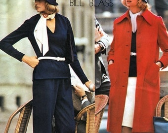 Vogue Americana 1014 by Designer Bill Blass Misses' Coat, Top, Skirt and Pants Sewing Pattern - uncut - Size 14 - Bust 36