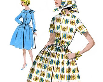 Advance 2948 Vintage 60s Junior and Misses' Dress and Scarf Sewing Pattern - Uncut - Size 13 - Bust 33