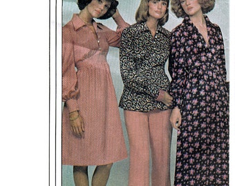 McCall's 4348 Vintage 70s Misses' Dress or Top Sewing Pattern - Uncut - Size 8, 10, 12 - Bust 31.5, 32.5, 34