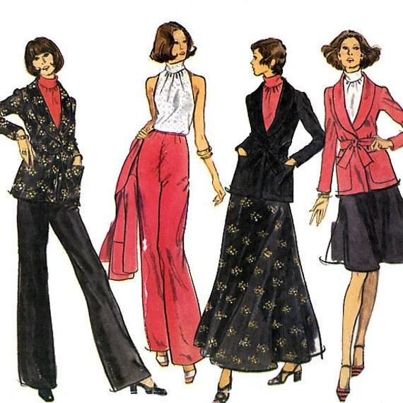 Vogue 8442 Vintage 70s Misses' Jacket, Pants, Skirt and Blouse Sewing Pattern - Uncut - Size 12 - Bust 34