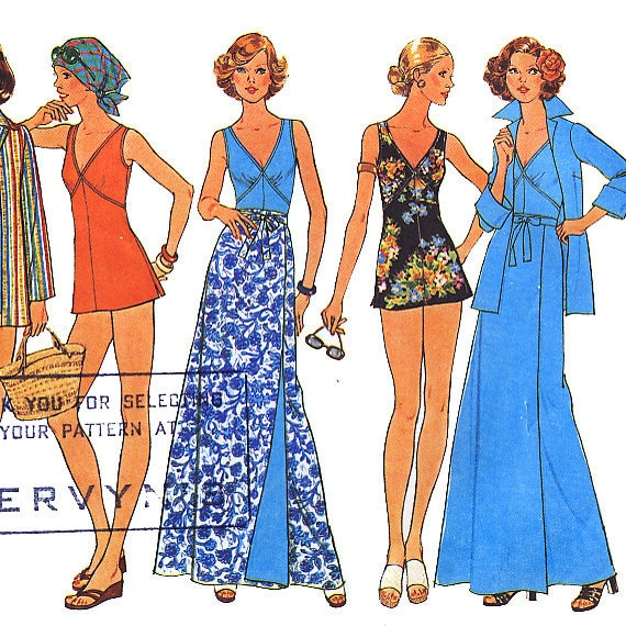 Simplicity 7497 Misses' Bathing-Suit, Reversible Front-Wrap Skirt and Shirt-Jacket Sewing Pattern - Uncut - Size 10 - Bust 32.5