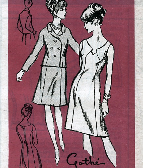 Prominent Designer M368 by Gothe Vintage 60s Misses' Dress and Jacket Mail Order Sewing Pattern - Uncut - Size 10 - Bust 31