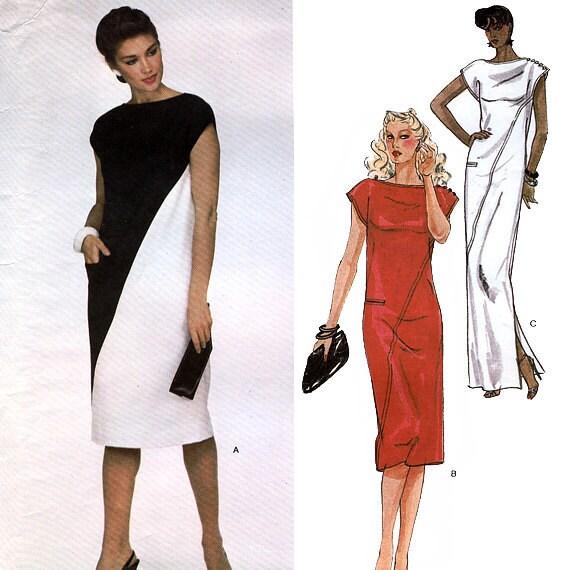 Vogue American Designer 2422 by Adele Simpson Vintage 80s Misses' Dress Sewing Pattern - Uncut - Size 10 - Bust 32.5