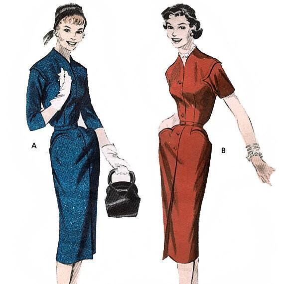 Butterick 7425 Vintage 50s Misses' Dress Sewing Pattern - Size 14 - Bust 32