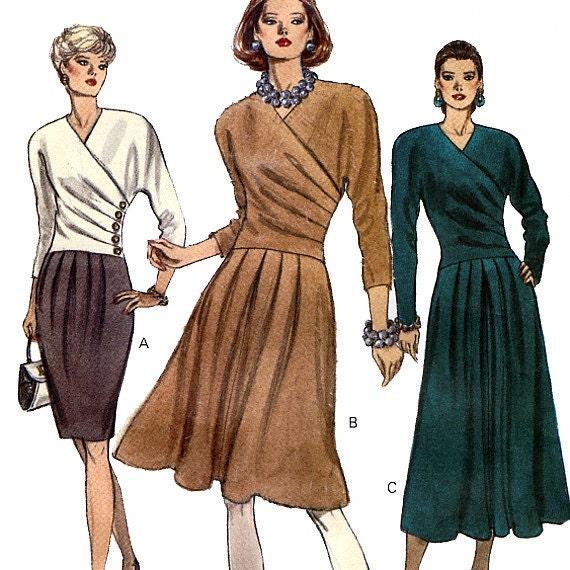 Vogue 8135 Misses' Mock Wrap Dress Sewing Pattern - Uncut - Size 12, 14, 16