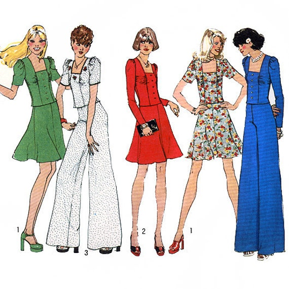 Simplicity 6662 Vintage 70s Misses' Short Two-Piece Dress or Top and Pants Sewing Pattern - Uncut - Size 12 - Bust 34