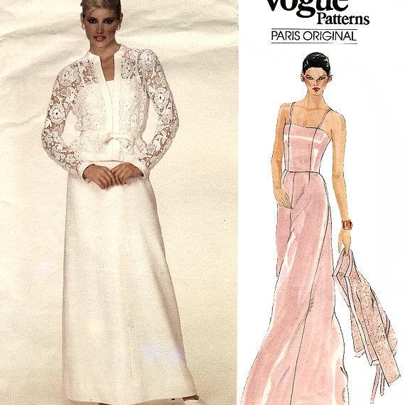 Vogue Paris Original 2835 by Pierre Balmain Vintage 80s Misses' Evening Dress and Jacket Sewing Pattern - Uncut - Size 10 -  Bust 32.5