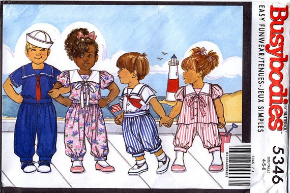 Butterick 5346 Children's Top with Sailor Collar and Pants Sewing Pattern - Uncut - Size 4, 5, 6