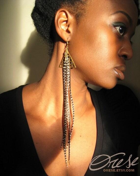 Maat - Asymmetric Feather Brass Earrings