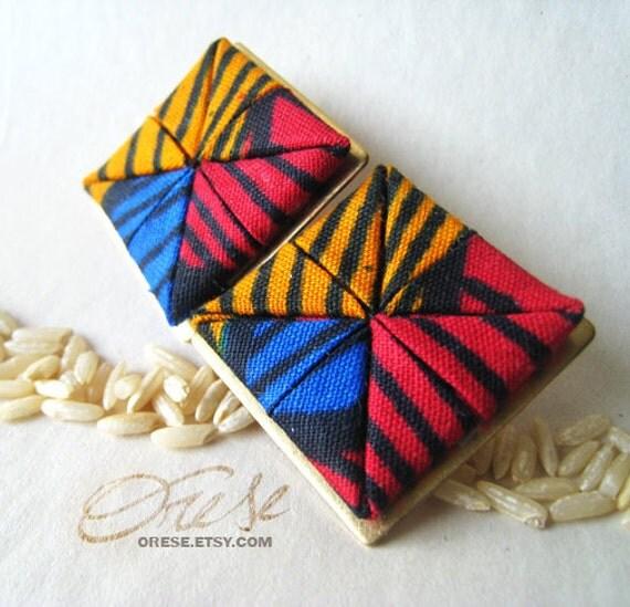 Asa Squearrings - Ankara African Fabric Earrings