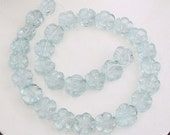1 Strand Carved Blue Agate Flower Beads