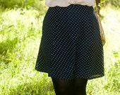Navy Blue White Polka Dot Skirt XS - S