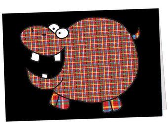 Plaid Hippo Note Card