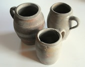 3 Antique French Confit Pots Preserving Jars Hand Thrown Pottery