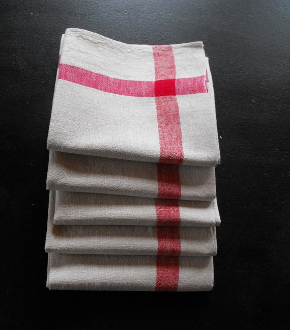 RESERVED FOR ALTA 5 French Kitchen Towels Vintage Torchons