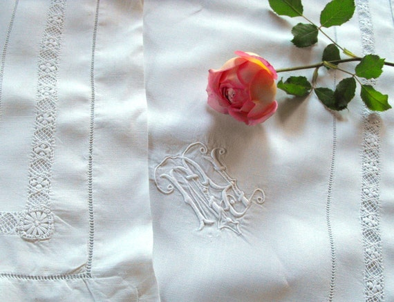 SALE 50% OFF  French Bed Sheet  /Cases  Vintage French Linen Sheet w  2 Matching Cases Elegant Embroidery