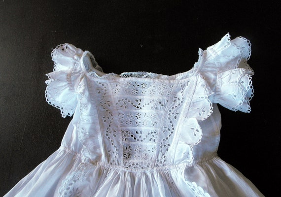 Vintage Christening Gown French w/ fine Handworked 'Broderie Anglaise'