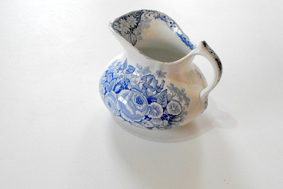 Antique French Porcelain Pitcher Blue and White Transferware