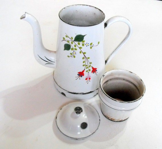 ON SALE Antique French Enamelware Coffee Pot