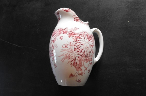 Antique French Porcelain Pitcher Rose Coloured Transferware