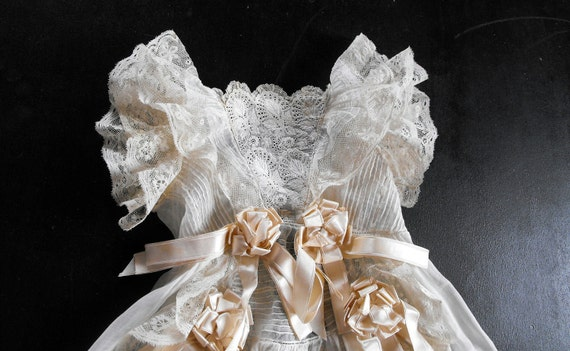 French Antique Christening Gown with Magnificent Embroidery Champagne  Silk Ribbons