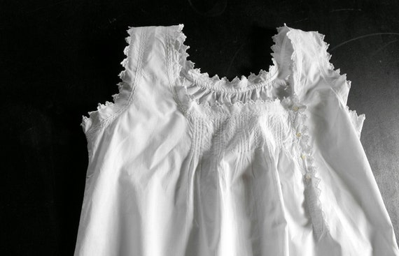 French Vintage Nightgown Fine Cotton with Lovely Detailing