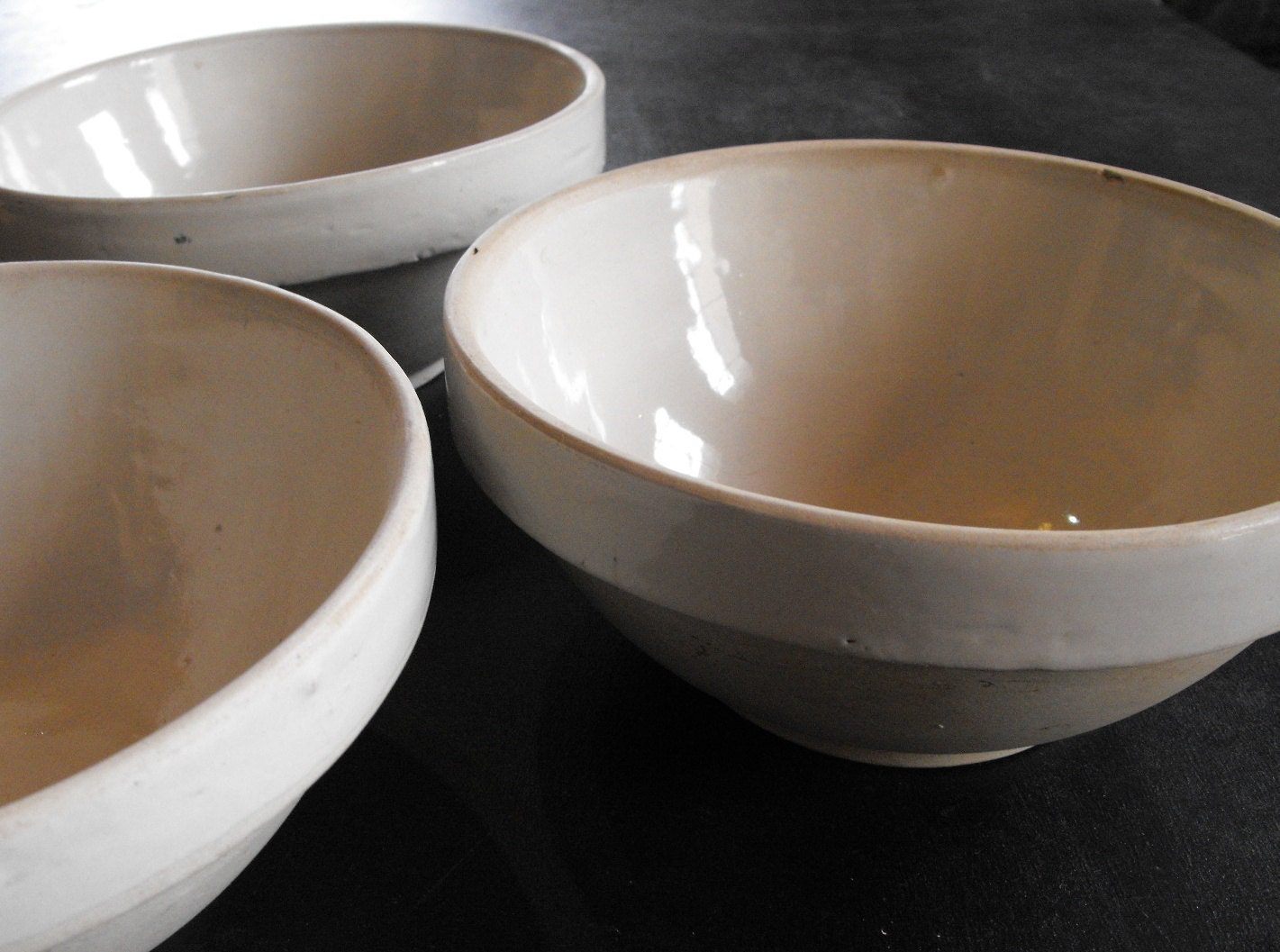 Watt Pottery Blue Stoneware Mixing Bowl Loops Pattern