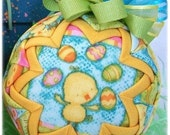 Easter Ornament Decoration quilted spring yellow blue chick
